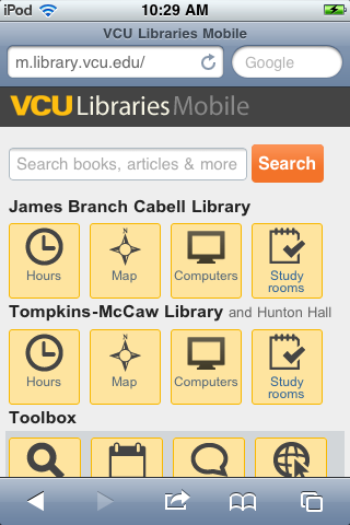 VCU Libraries mobile circa 2011