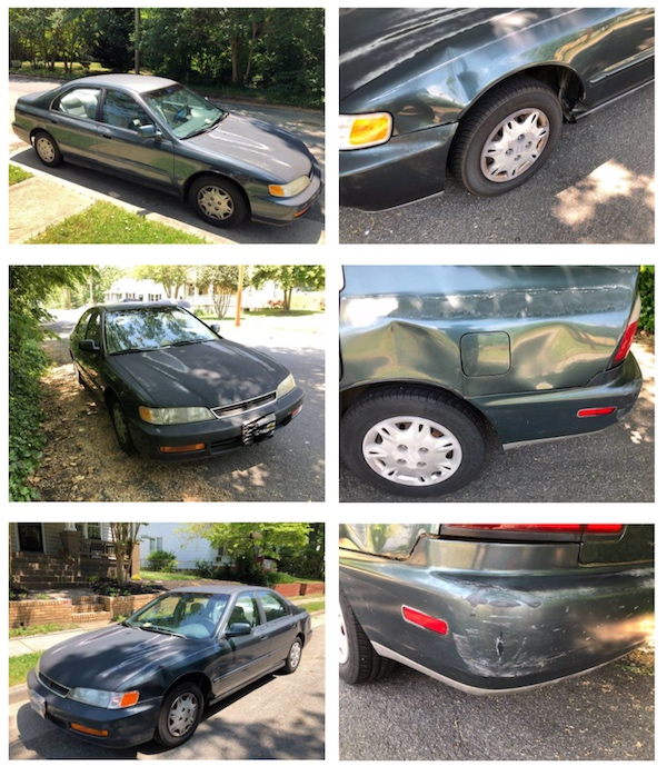 Close-up photos of a very well-loved dark green 1997 Honda Accord